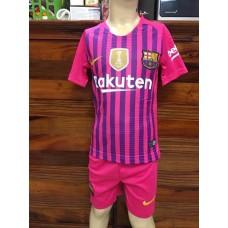 (เด็ก) ชุดทีมบาร์เซโลน่า สีชมพูลายม่วง เสื้อ+กางเกง