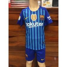 (เด็ก) ชุดทีมบาร์เซโลน่า สีน้ำเงินลายฟ้า เสื้อ+กางเกง