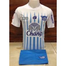 ชุดทีมชลบุรี สีขาวลายฟ้า เสื้อ+กางเกง
