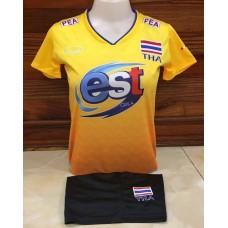 ชุดบอลเล่บอลทีมชาติไทย สีเหลือง เสื้อ+กางเกง
