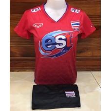 ชุดบอลเล่บอลทีมชาติไทย สีแดง เสื้อ+กางเกง